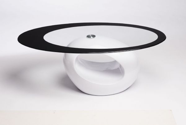 Contemporary Retro Designed Oval Coffee Table (Black Clear) | UKCOFFEETABLES.COM